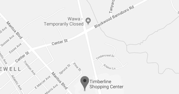 Timberline Shopping Center<br> 660 Woodbury-Glassboro Rd, Suite #14 <br> Sewell, NJ 08080